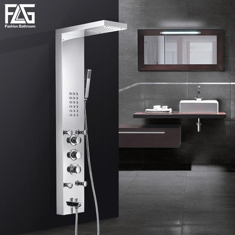 FLG Bad Regen Dusche Panel wasserfall Regen Massage System Wasserhahn mit Jets Handbrause Badezimmer Duschsäule Mixer