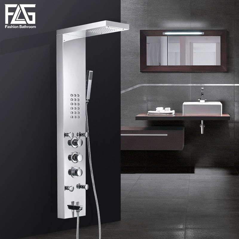 FLG Bathroom Rain Shower Panel waterfall Rain Massage System Faucet with Jets Hand Shower Bathroom Shower Column Mixer