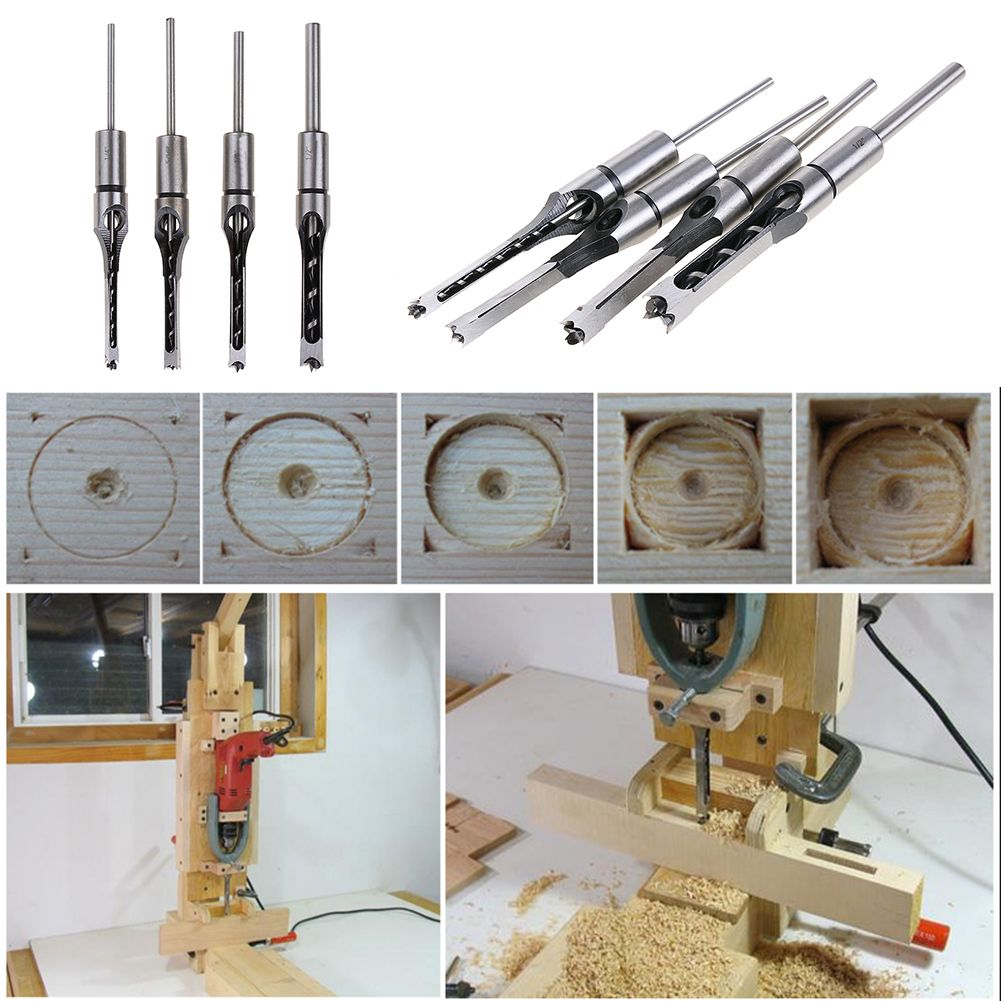 HSS Twist Drill Bits Woodworking Drill Tools Kit Set Square Auger Mortising Chisel Drill Set Square Hole Extended Saw 4 sizes