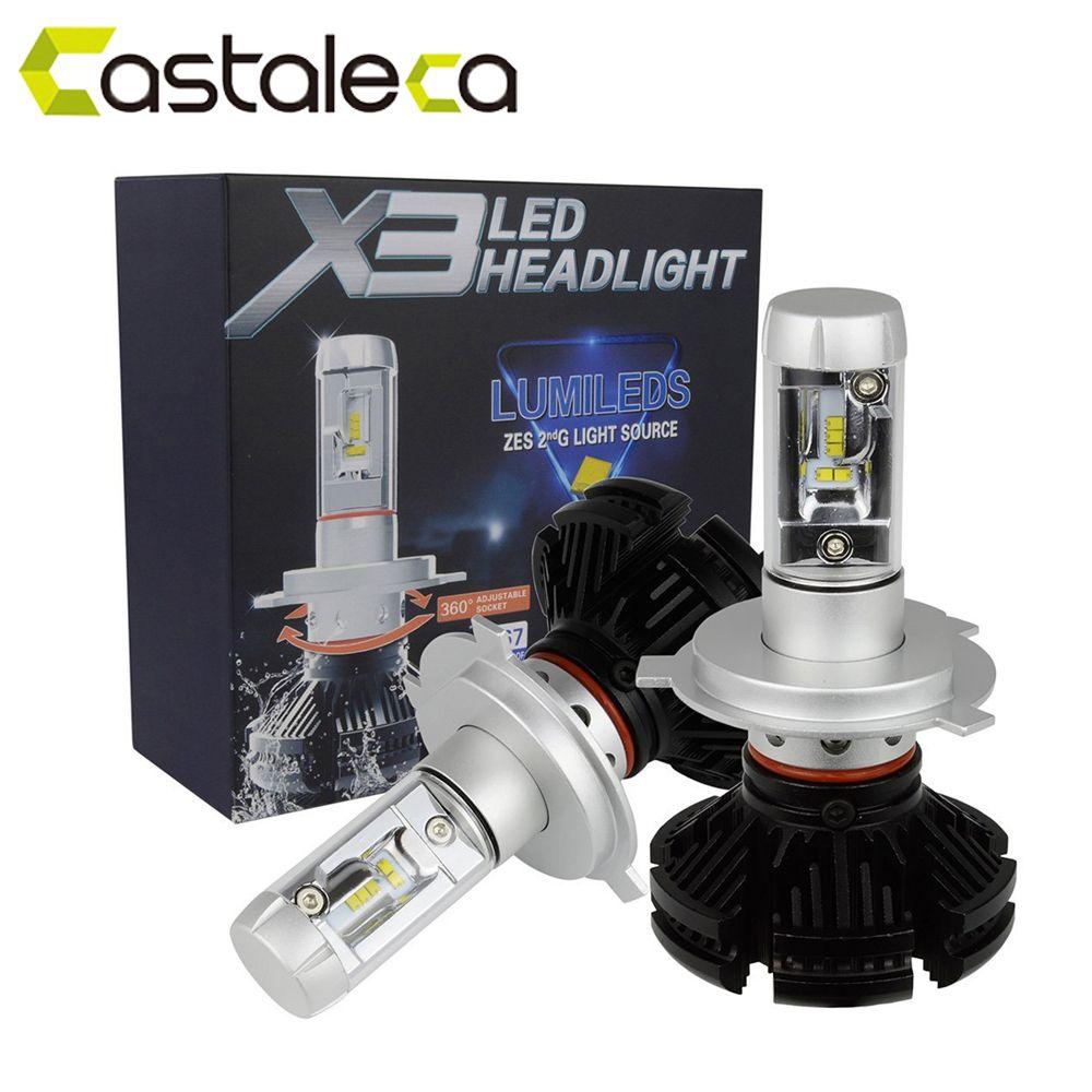 castaleca 1 Pair X3 Car LED Headlights Extremely Bright H4 H7 H11 9005 9006 9007 H13 Automobile headlamp 50W 6000LM Bulbs Kit