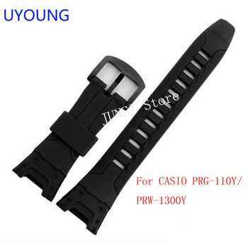 UYOUNG Watchband For Casio PRG-110Y/PRW-1300Y Watch bands Black Silicone Rubber Strap For men Bracelet