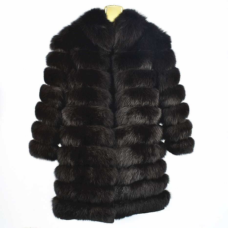 2018ladies new natural fox fur coat sleeves detachable jacket can be long leather fur collar fur collar autumn and winter warm