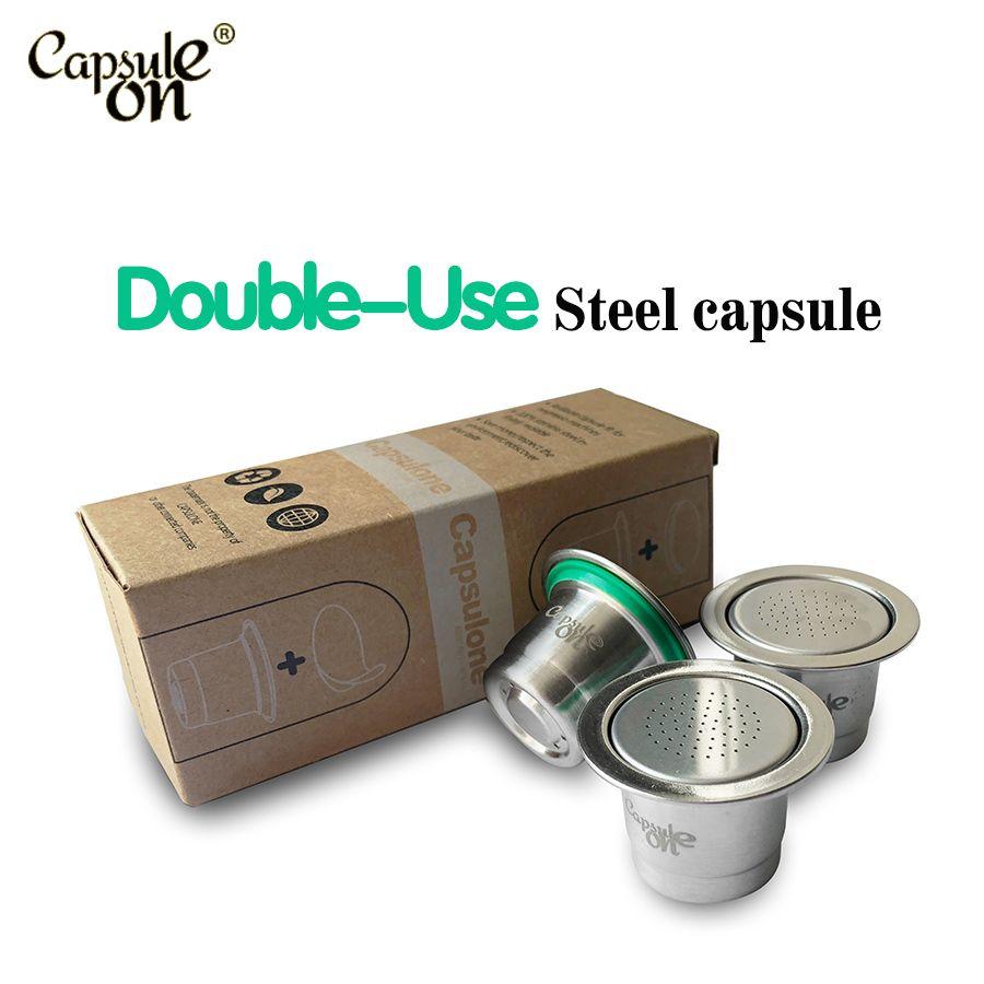 Capsulone capsules de café réutilisables réutilisables en acier inoxydable compatibles avec la machine à café Nespresso 3 dosettes + 120 joints