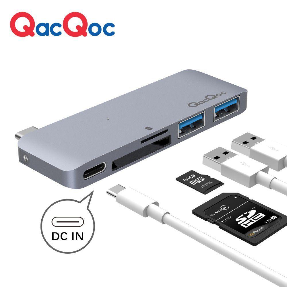 QacQoc GN21B Aluminium USB C Hub mit Kartenleser 2 USB 3.0 Ports Typ-C Power lieferung für Macbook12-Inch MacBook pro adapter