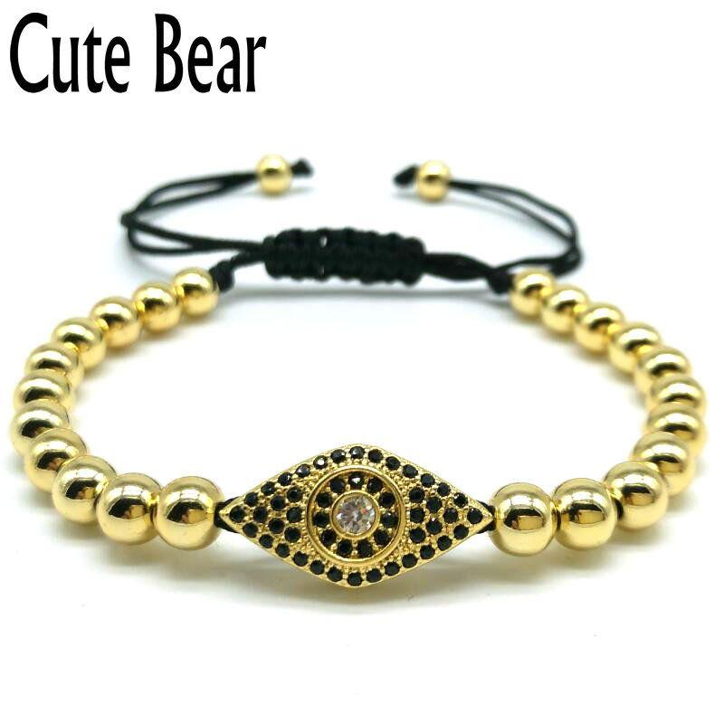 New Copper Micro Pave CZ Zircon Eye Connector 6mm Round Beads Bracelet Anil Arjandas Braided Macrame Men Bracelets Jewelry