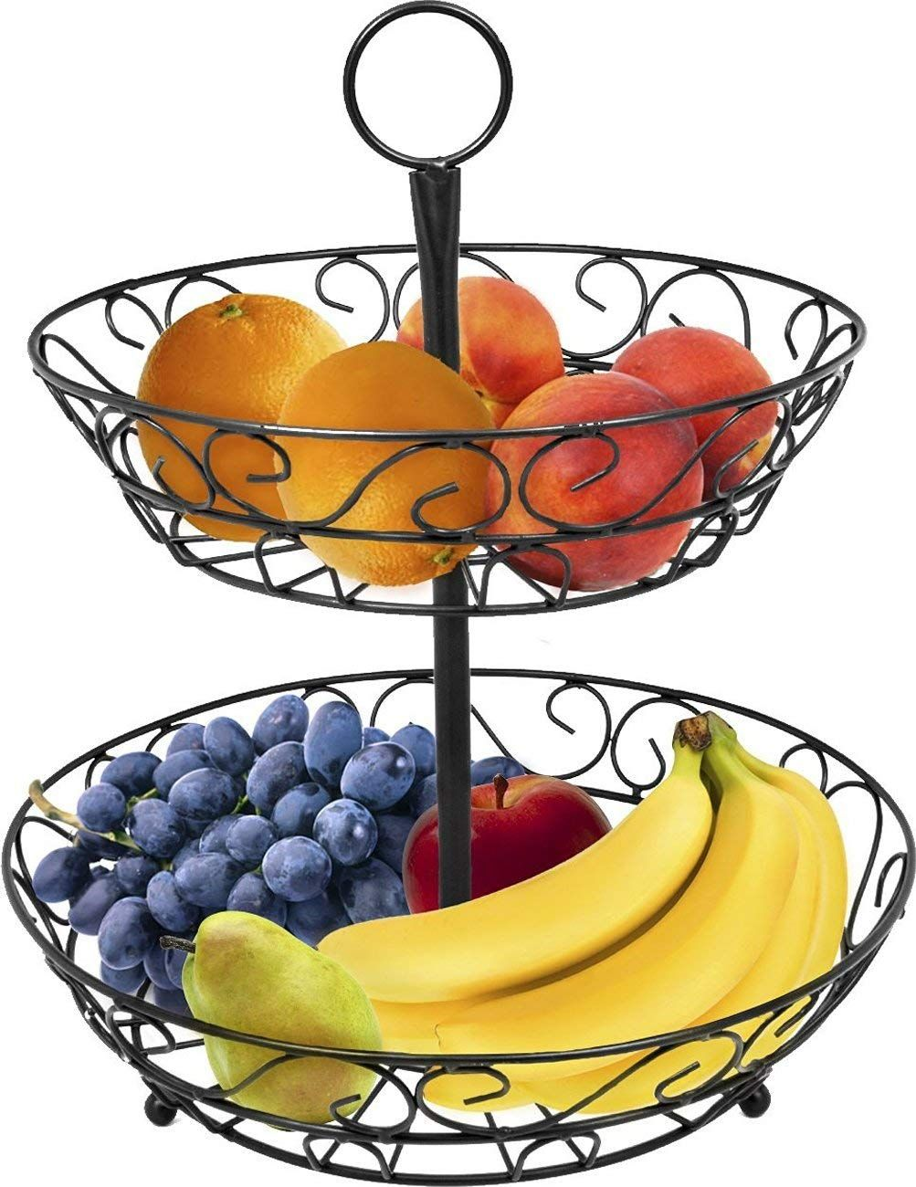 2-Tier Countertop Fruit Basket Holder & Decorative Bowl Stand Basket Perfect for Fruit, Vegetables, Snacks, Household Items