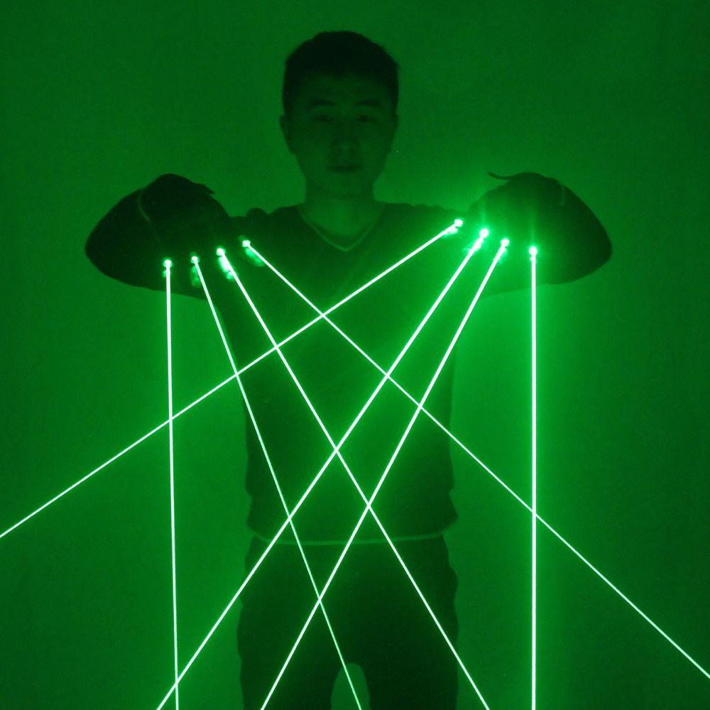 Gants Laser verts avec Laser 4 pièces 532nm, gants de scène LED gants lumineux pour DJ Club/Party Show