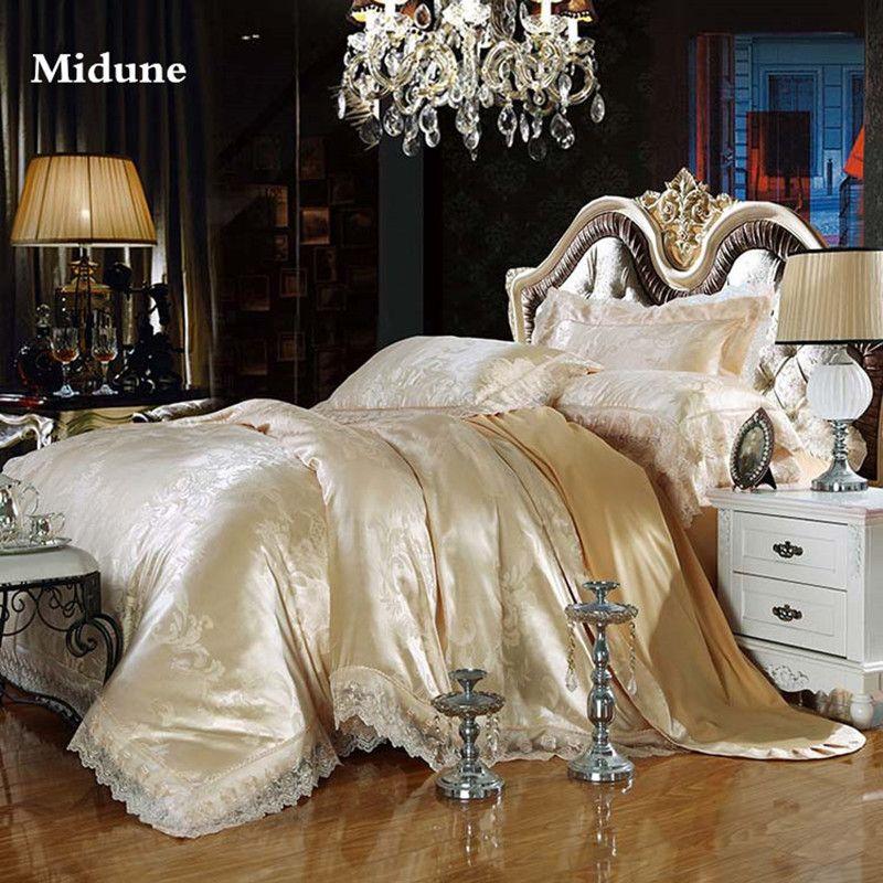 Nouveau 100% Coton De Luxe Broderie Tencel Satin Soie parures de lit jacquard drap de lit Reine Roi taille 4 pièces/6 pièces housse de couette Ensembles