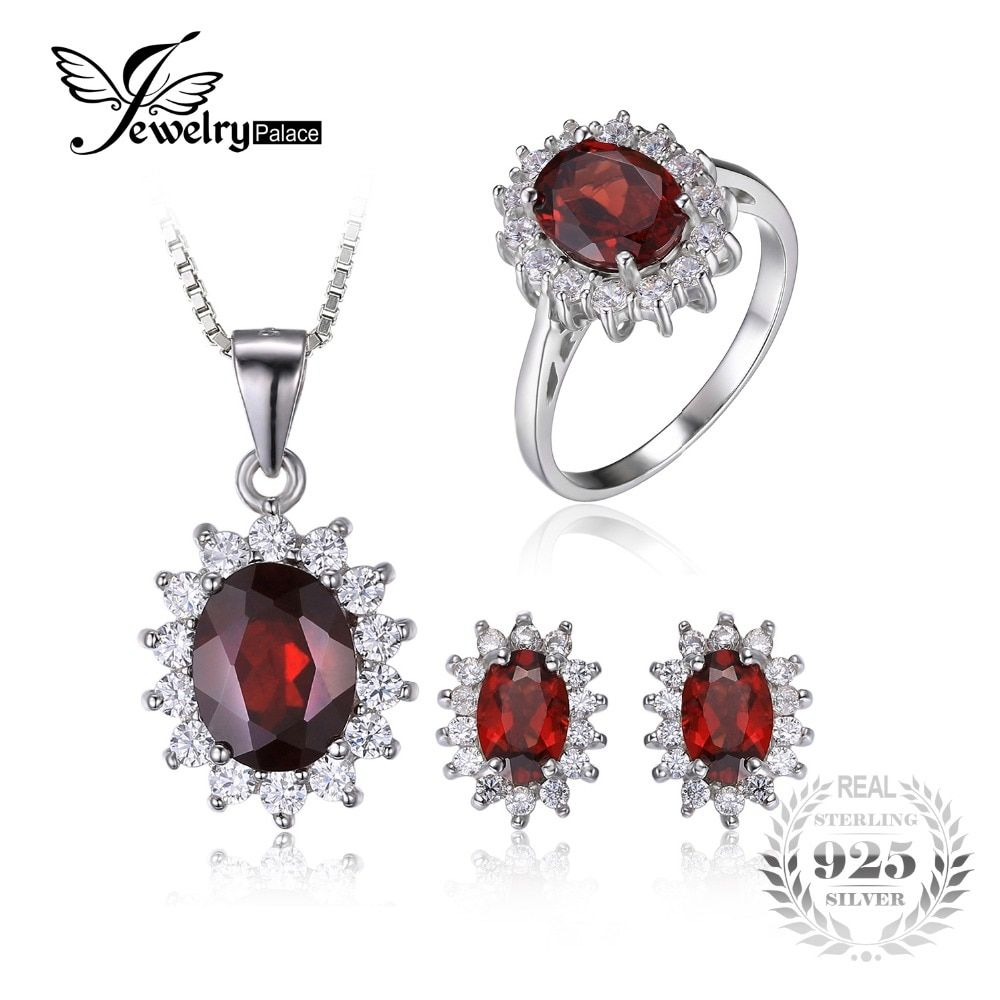 JewelryPalace Garnet Ring Pendant Earring and a Gift Chain Diana Jewelry Set Pure 925 Sterling Silver Crystal Jewelry for Women