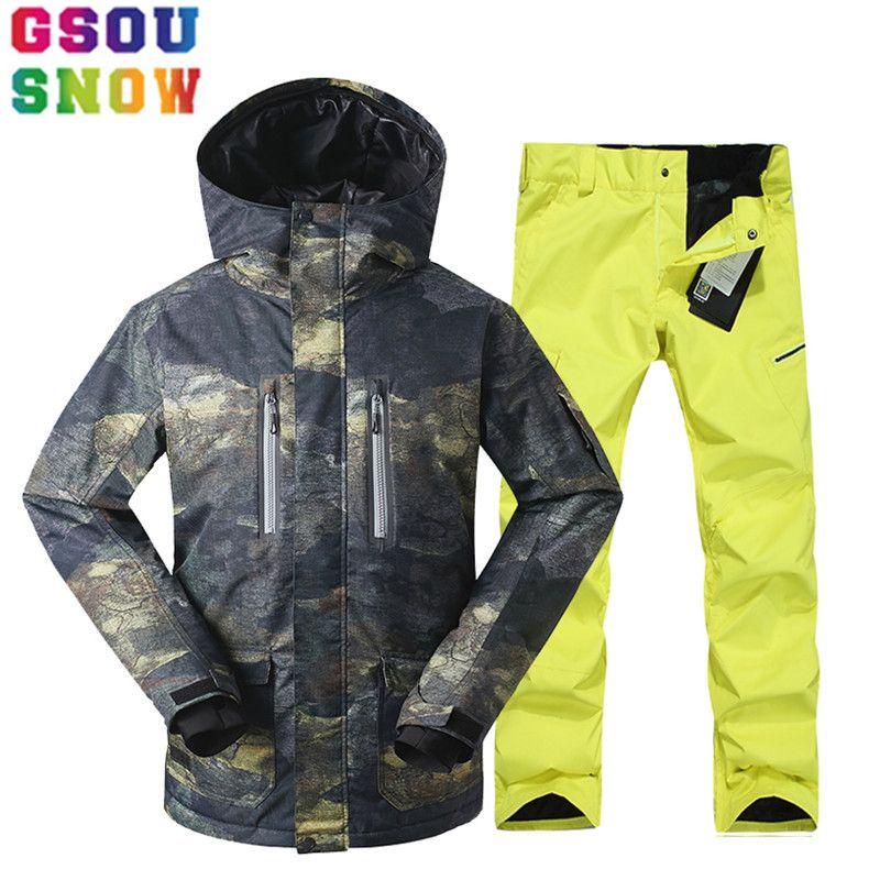 GSOU SNOW Brand Ski Suit Men Ski Jacket Pants Winter Mountain Skiing Suits Male Waterproof Snowboard Sets Outdoor Sport Clothing