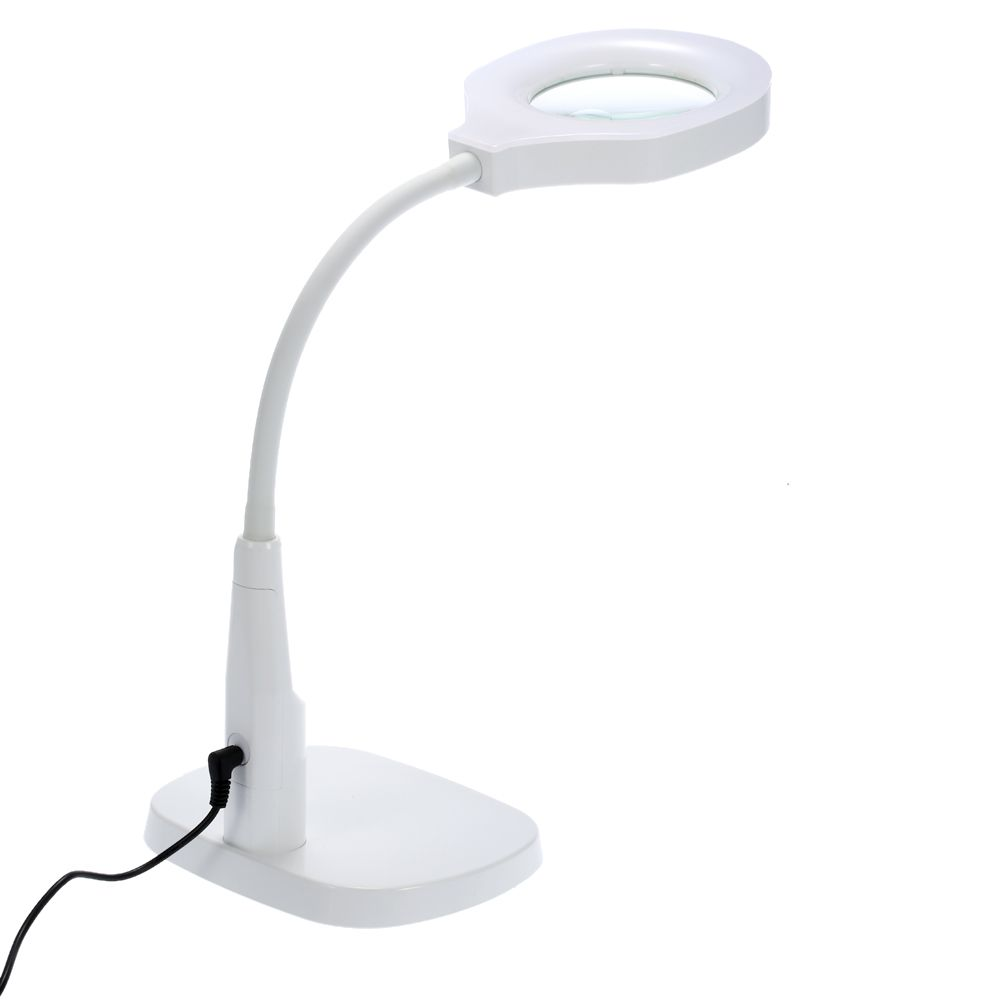 2 in 1 Illuminated Third Hand Magnifier Desk Lamp Magnifying Glass Flexible Loupe Desktop Magnifier with Clamp and Base Holder