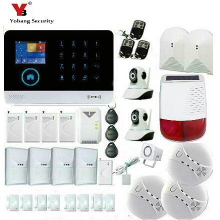 YobangSecurity Solar Power Sirene Glas Brechen Pet Immune Sensor IP Kamera Touch Tastatur Wifi GSM GPRS Home Security Alarmanlage