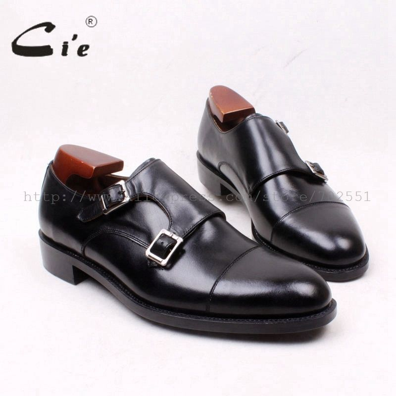 cie Round Cap Toe Double Monk Straps Handmade 100%Genuine Calf Leather Goodyear Welted Men's Shoe Leather Bottom Outsole MS126