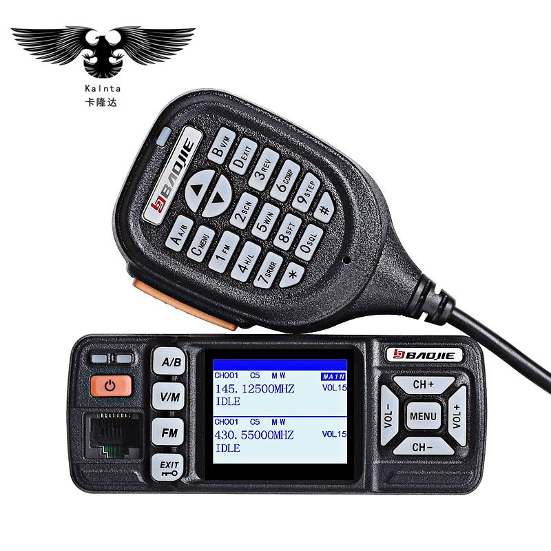 BJ-318 mini car radio station mobile walkie talkie 10km ham vhf uhf dual band portable PTT walkie-talkie for cars intercom