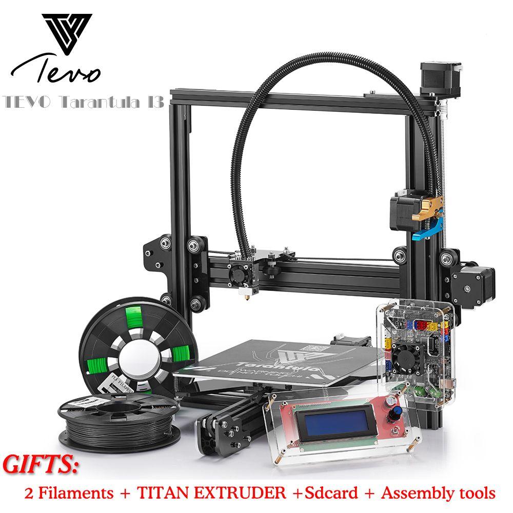 TEVO Tarantula 3D Printer DIY kit impresora 3d printer 2 Roll Filaments Titan Extruder SD Card I3