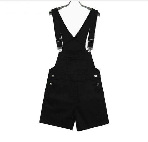 Candy Color White Black Pink Shorts Overalls College Wind Slim Casual Summer Denim Bodysuit Women Loose Simple Straps Jumpsuit
