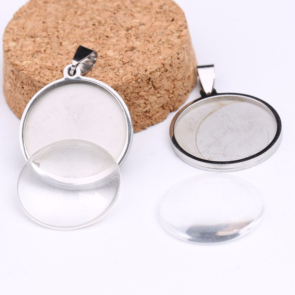 onwear 10pcs stainless steel bezels 25mm dia cabochon settings rhodium color cameo pendant base trays with clear glass cabochons