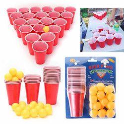 Hot 1 Set Hiburan Menyenangkan Partai Minum Permainan Partai Permainan Drin raja mainan Papan Permainan Beer Pong Pong Kit 24 Bola dan 24 Merah cangkir