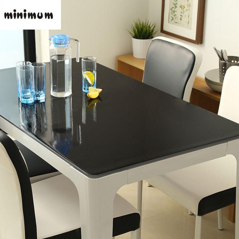 1mm preuve imperméable à l'huile de nappe en plastique PVC nappe de verre mou de pvc de mode linge de table noir antidérapant table housse de matelas