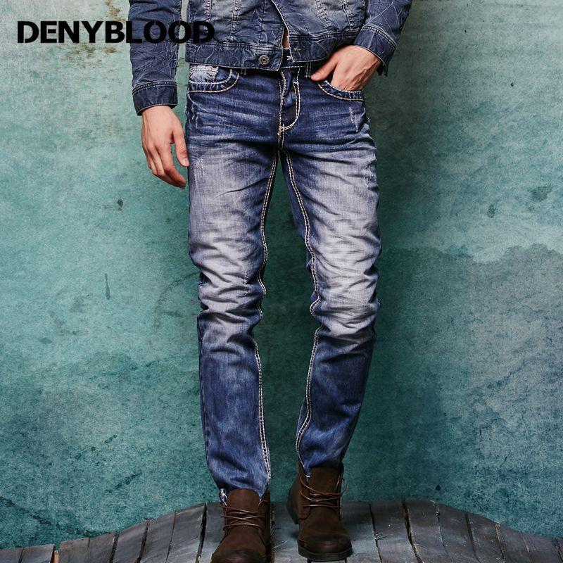 Maille épaisse Hommes En Difficulté Jeans Déchirés 3D Froissé Moustaches Mâle De Mode Denim Pantalon Cargo Vintage Lavé Casual Pantalon 146038C