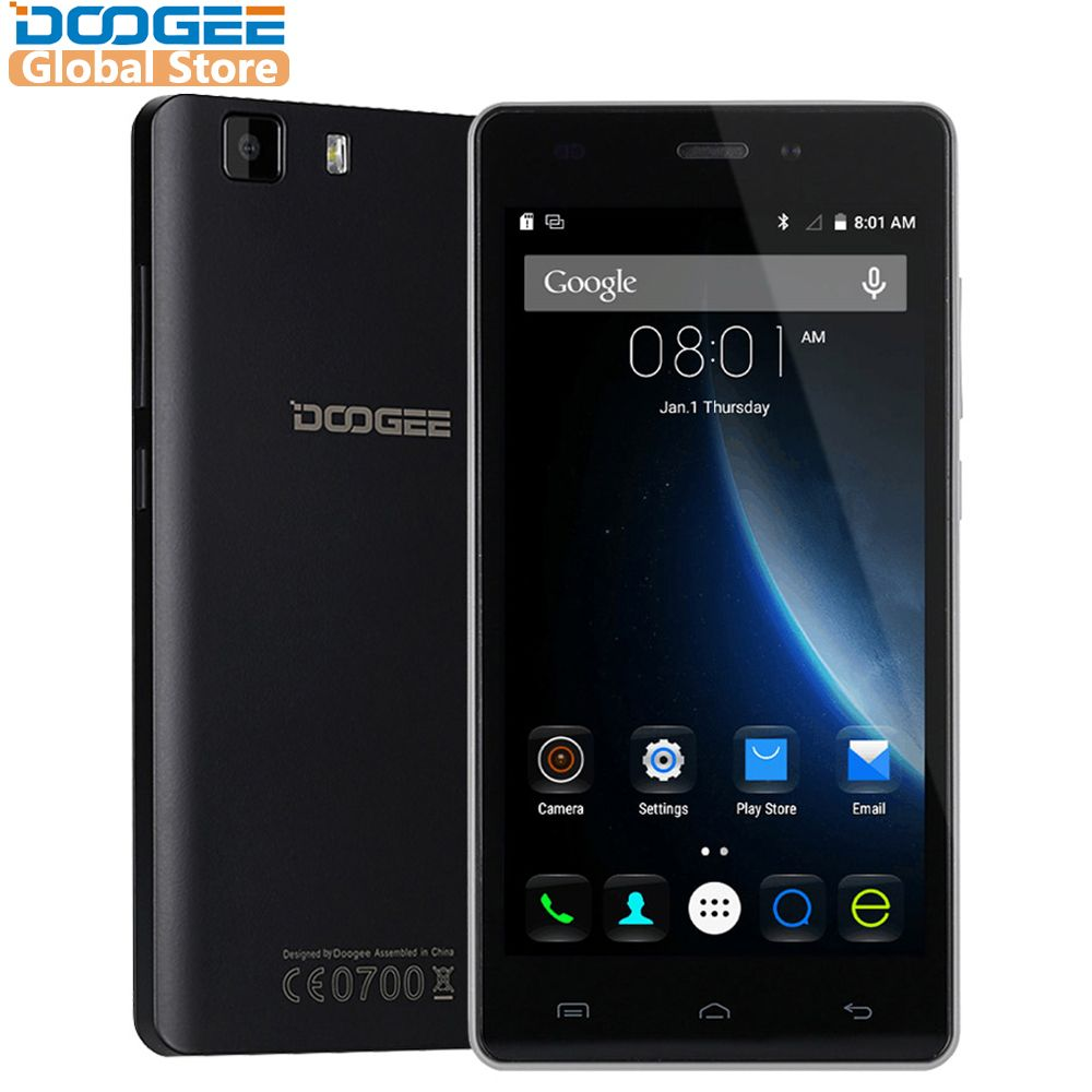 Original DOOGEE X5 mobile phones 5.0InchHD 1GB RAM+8GB ROM Android 5.1 Dual SIM MT6580 Quad Core 1.0Ghz 2400mAH WCDMA WIFI