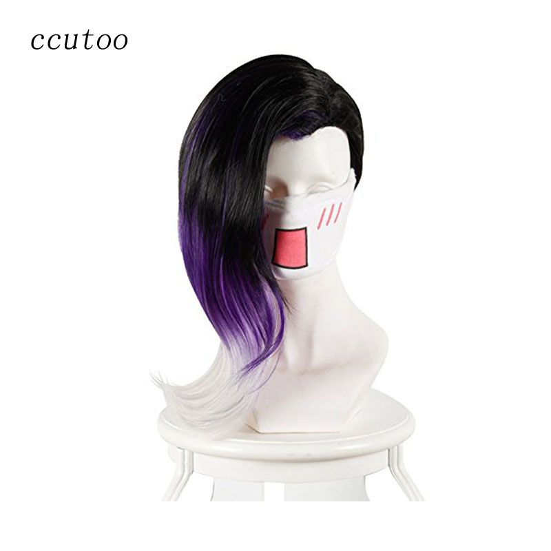 Ccutoo 40 cm Noir Pourpre Whtie Ombre Mix Bouclés Jeu Overwatch OW Sombra Synthétique Cheveux Cosplay Costume Perruques