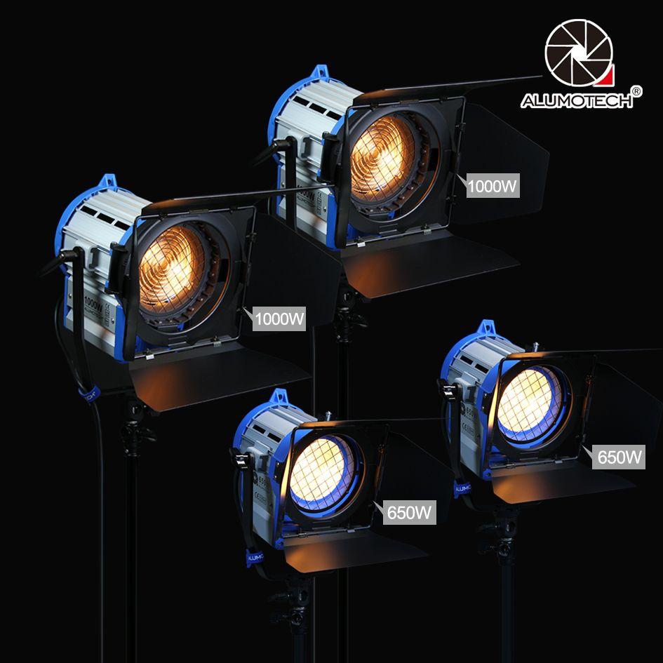 ALUMOTECH (650 watt + 1000 watt) x2 Dimmer Eingebaute Fresnel Wolfram Spot licht für film kamera video