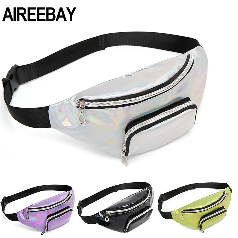 AIREEBAY Holographic Fanny Pack For Women Pink Silver Female Belt Bag Black Laser Belt Bags Outdoors Travel Chest Pouch