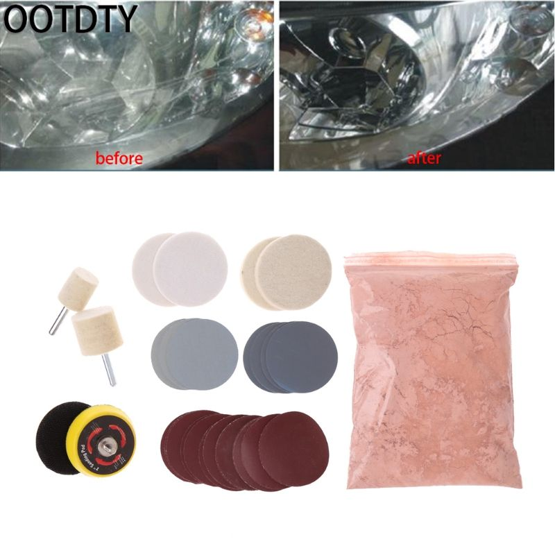 OOTDTY 34 Pcs Deep Scratch Remover Car Glass Polishing Kit 8 OZ Cerium Oxide and 2'' Wheel