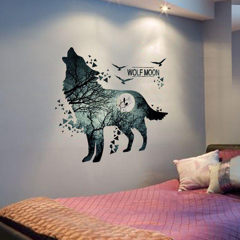 [SHIJUEHEZI] loup Lune Stickers Muraux PVC Matériel DIY Forêt Arbre Oiseaux Direction Affiche de Mur pour Chambres D'enfants Décoration Murale Art