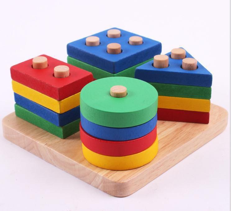 Livraison gratuite enfants en bois jouet éducatif géométrie intelligence conseil enfants éducation précoce montessori enseignement sida blocs