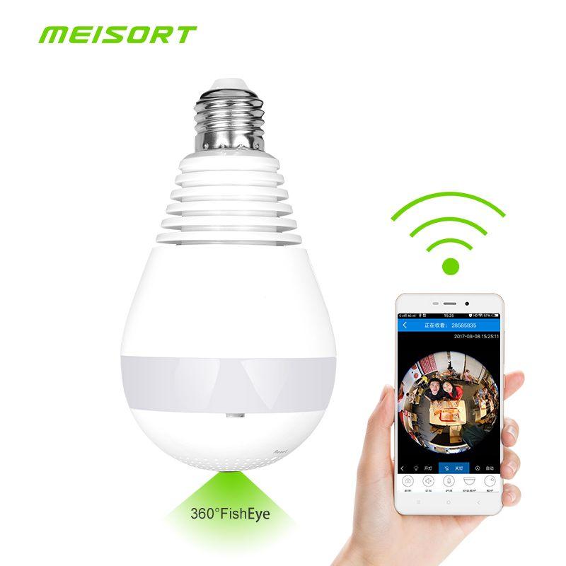 Bulb LED Light wifi IP Camera Wi-fi Fish-eye 960P 360 degree CCTV VR Camera 1.3MP Home Security WiFi Camera Panoramic camera