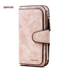 Marca monedero cuero de la PU de las mujeres cartera monedero cartera femenina titular de la tarjeta larga señora embrague Carteira feminina