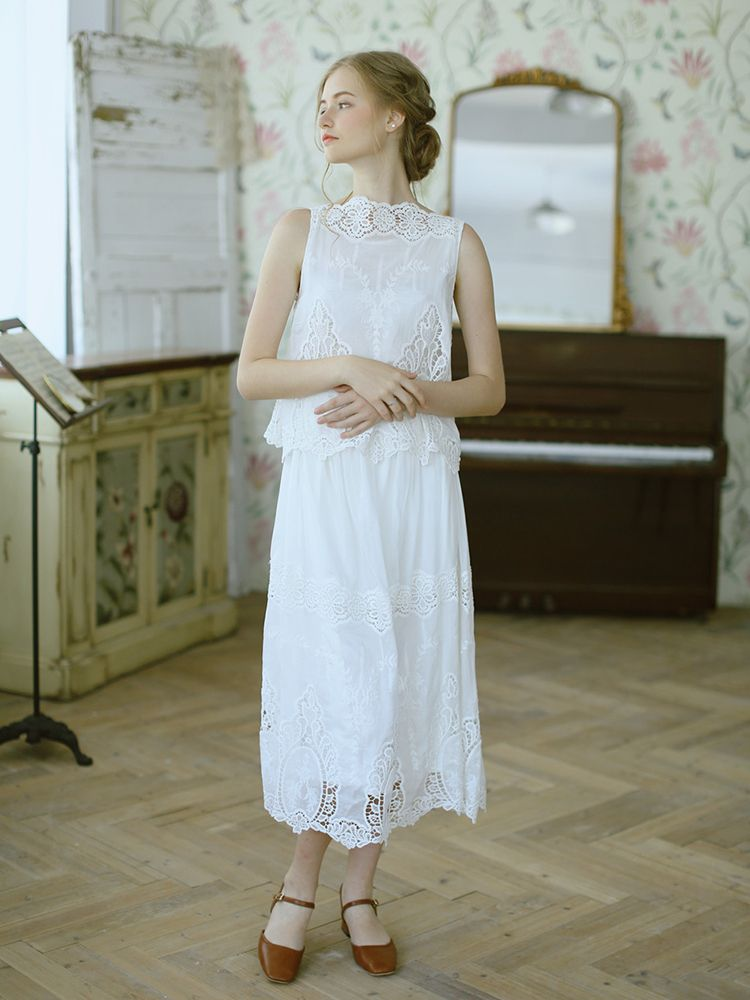 LYNETTE'S CHINOISERIE Summer Women High Quality Vintage Hollow Out Embroidery Faux Twinset Silken Cotton Sleeveless Dresses
