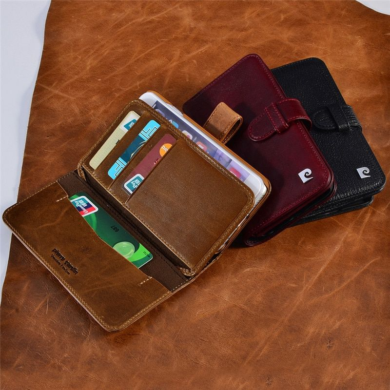 Pierre Cardin Luxury Real Genuine Leather Case For iPhone 7/7 Plus 6/6s 6/6s  Book Wallet Style Phone Bag Flip Style Cover Cases