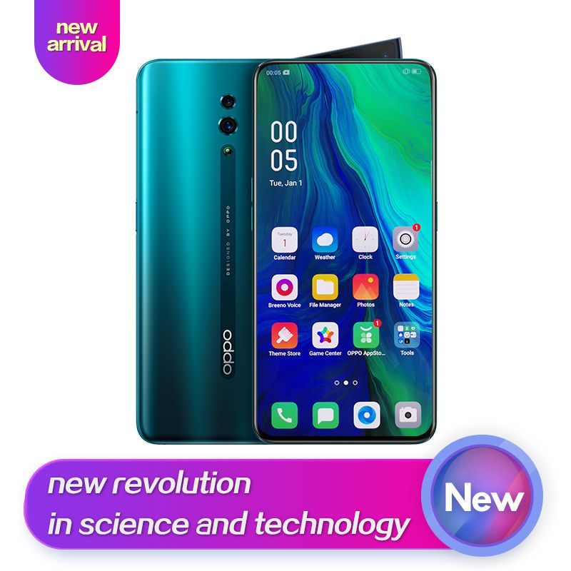 OPPO Reno Neue Ankunft Smart telefon 6,4 zoll Qualcomm710 Unterstützung NFC 2340*1080 Octa Core 3 Kameras 48MP + 5MP 3765 mAh Fingerprint ID
