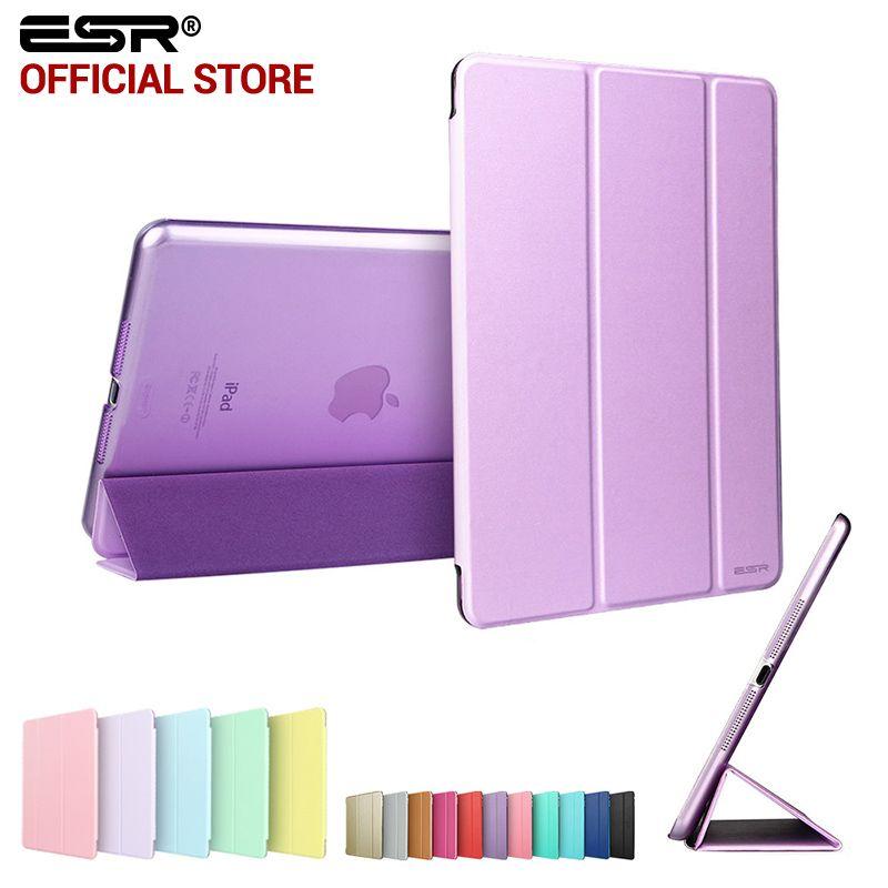 Case for iPad mini 1 2 3, ESR Tri-fold smart <font><b>cover</b></font> Color Ultra Slim PU Leather Transparent Back Case for iPad mini 1 2 3