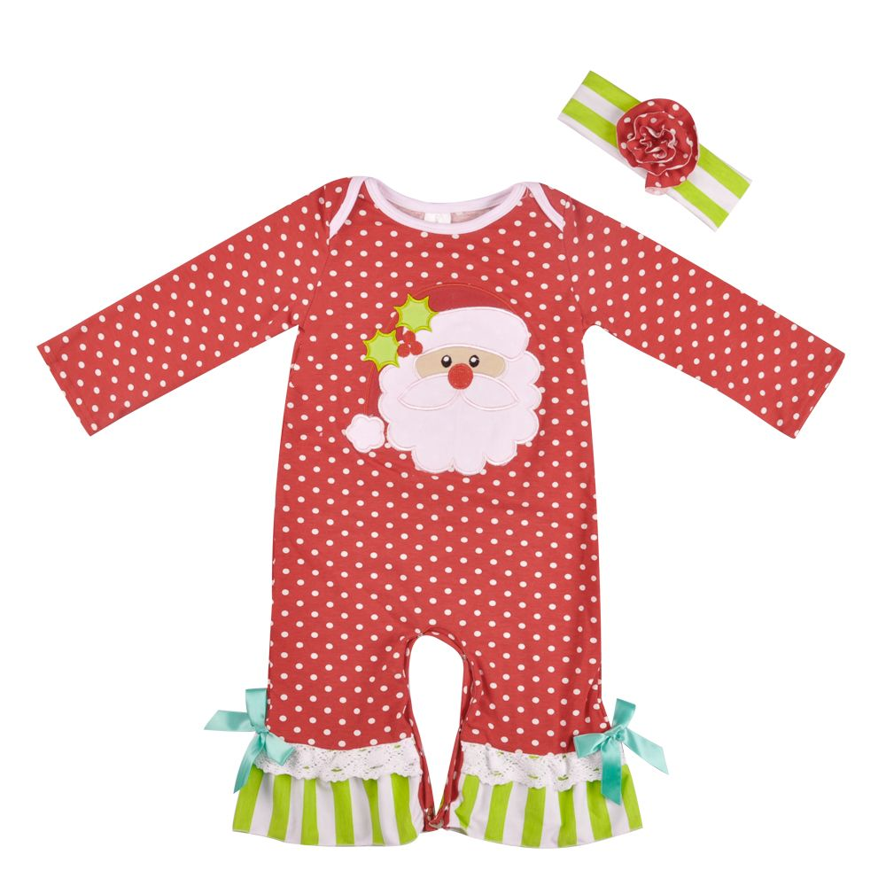 Christmas Baby Winter Romper Red Cotton Polka Dot Santa Claus Embroidery Rompers Girl Jumpsuit Clothes With Headband R023