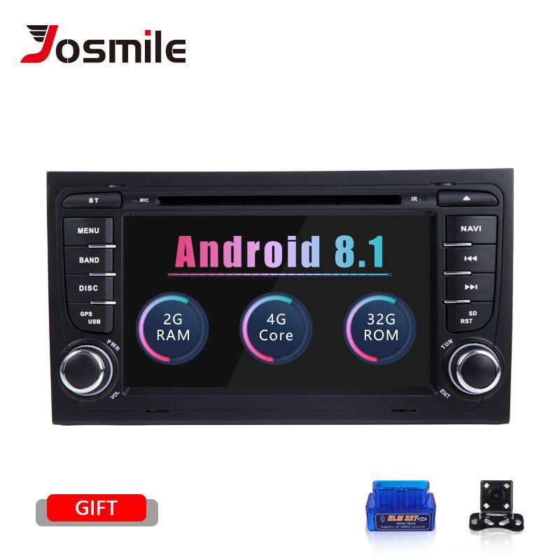 Josmile 2 Din Auto Radio GPS Android 8.1 Auto DVD Player für Audi A4 B8 S4 B6 B7 RS4 8E 8 H B9 Seat Exeo 2002-2008 Navigation Audio