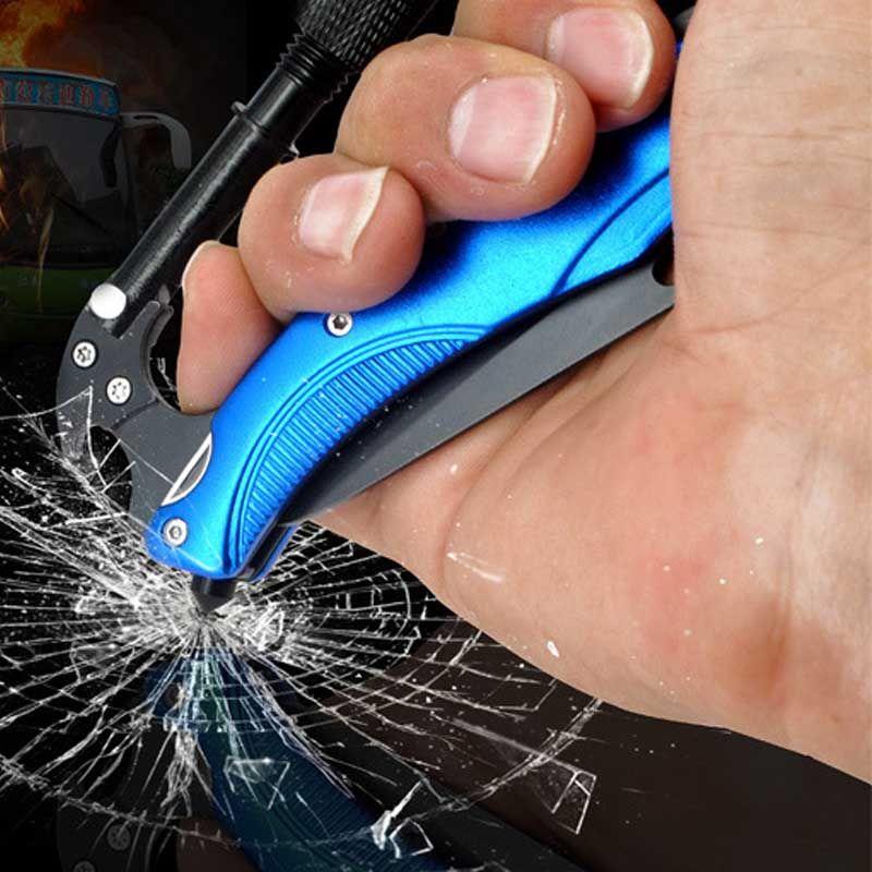 Couteau multifonctionnel de chaîne principale de crochet d'agrafe de mousqueton inoxydable avec des outils tactiques d'autodéfense de Camping de Sports en plein air lumière LED