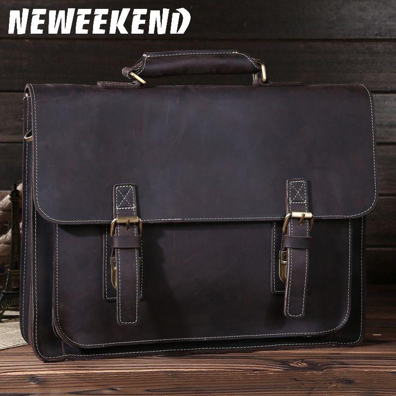 NEWEEKEND 6912 rétro véritable peau de haut en cuir cheval fou 14 pouces porte-documents épaule sac à main Messenger ordinateur portable iPad sac pour homme