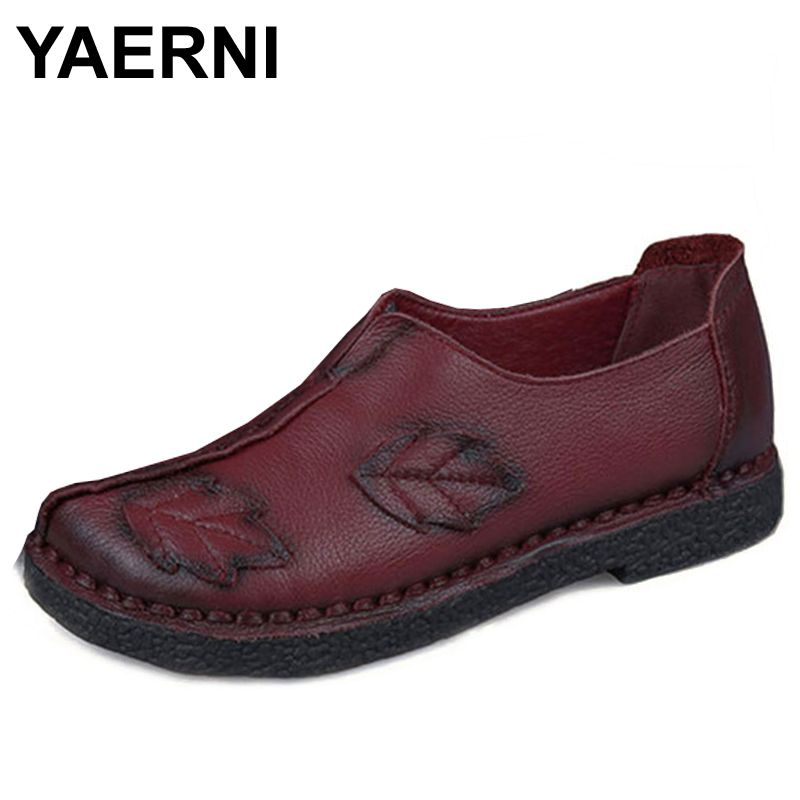 YAERNI Chinese Fashion Style 100% Genuine Leather Shoes Women Flats Leaves Green Hand-Made Slip-On Casual Mother shoes