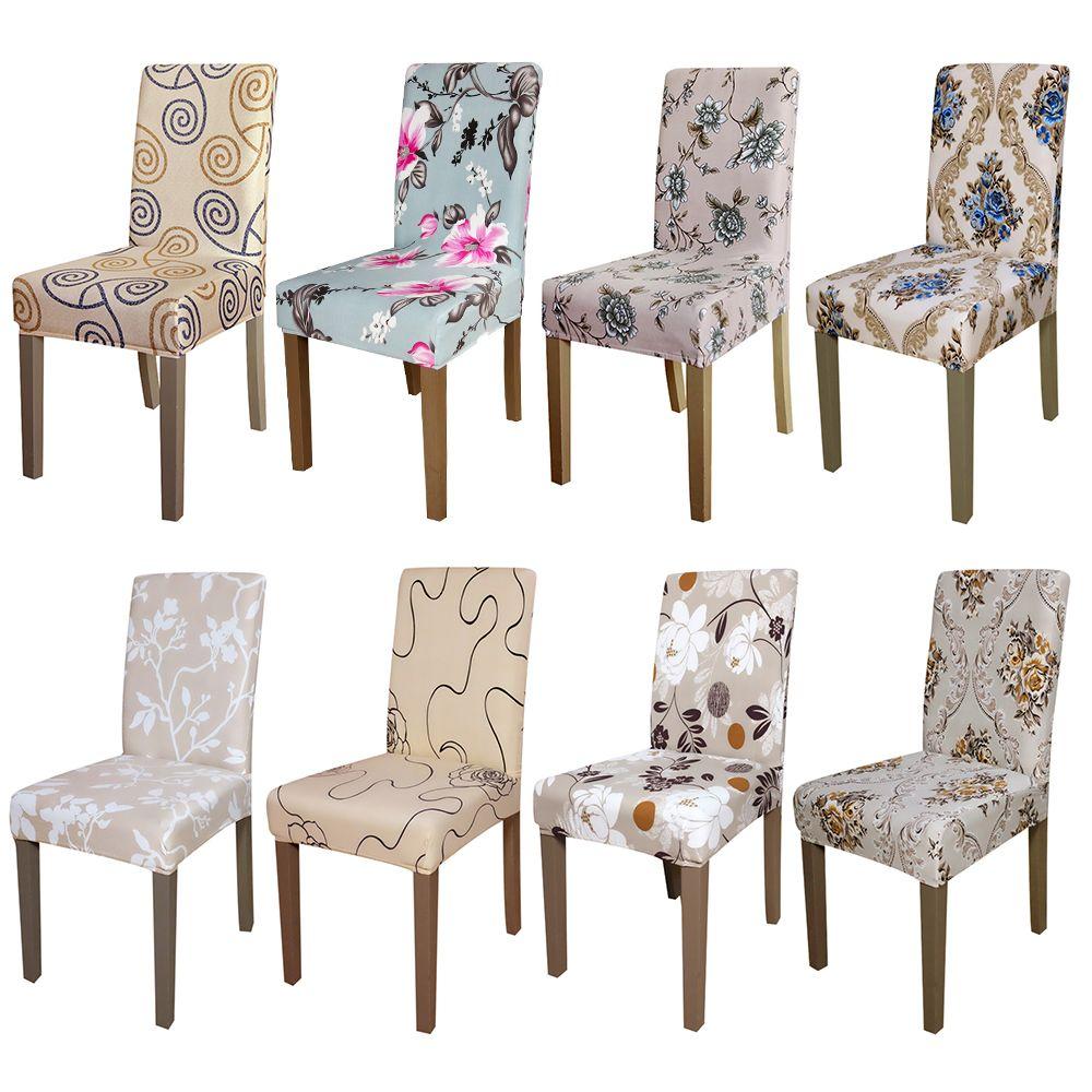 Cubierta de la silla del Estiramiento de impresión Extraíble Lavable Silla Cubre Protector Funda Del Asiento para el Comedor del hotel banquete de Navidad