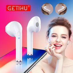 GETIHU Mini Bluetooth Earphone Headphone Phone Sport Headset Earpiece Stereo Wireless Earphones Headphones For iPhone 7 8 X