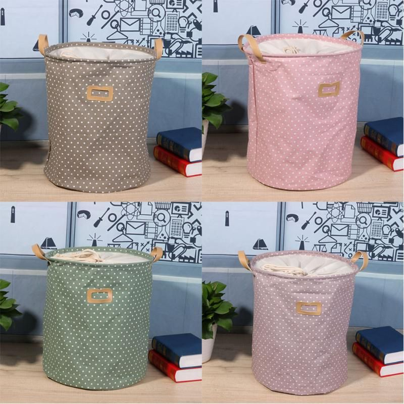 Lovely Barrel Shaped Makeup Organizer Folding Cotton Linen Barrel Makeup Organizer Storage Bag High Capacity Drawstring Wash Bag