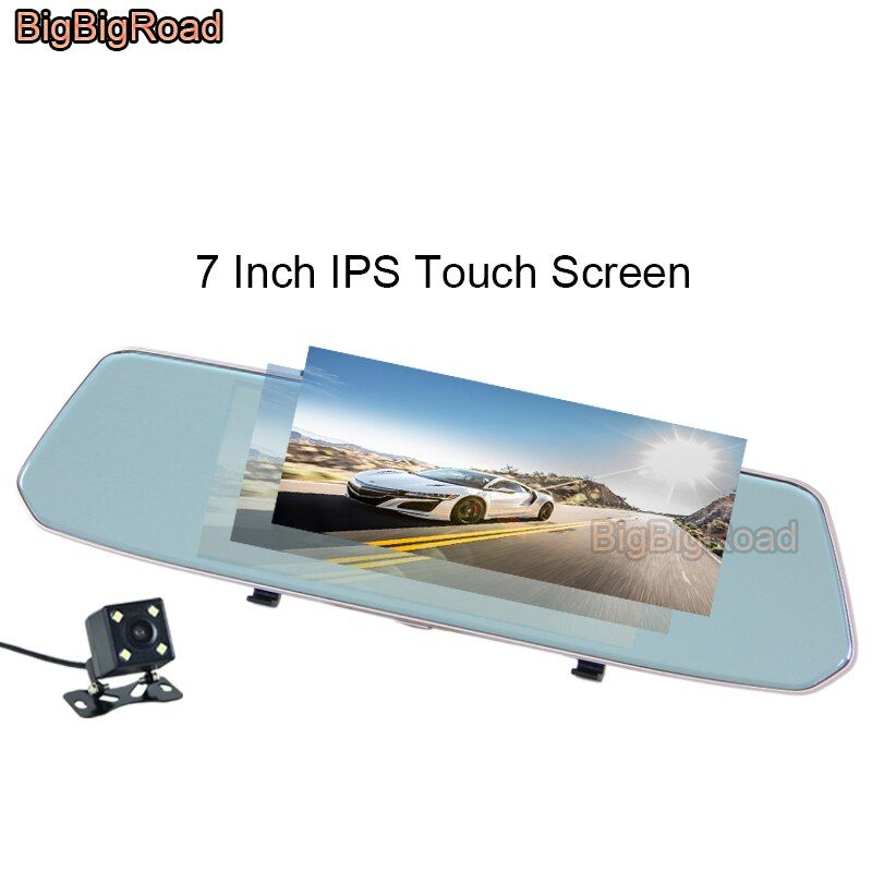 BigBigRoad For Toyota fj cruiser land cruiser prado 100 120 150 200 lc200 lc100 Car DVR Rear View Mirror 7 Inch IPS Touch Screen