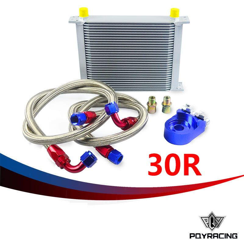 PQY RACING- AN10 OIL COOLER KIT 30RWOS TRANSMISSION OIL COOLER SILVER+OIL FILTER  ADAPTER BLUE PQY3830B