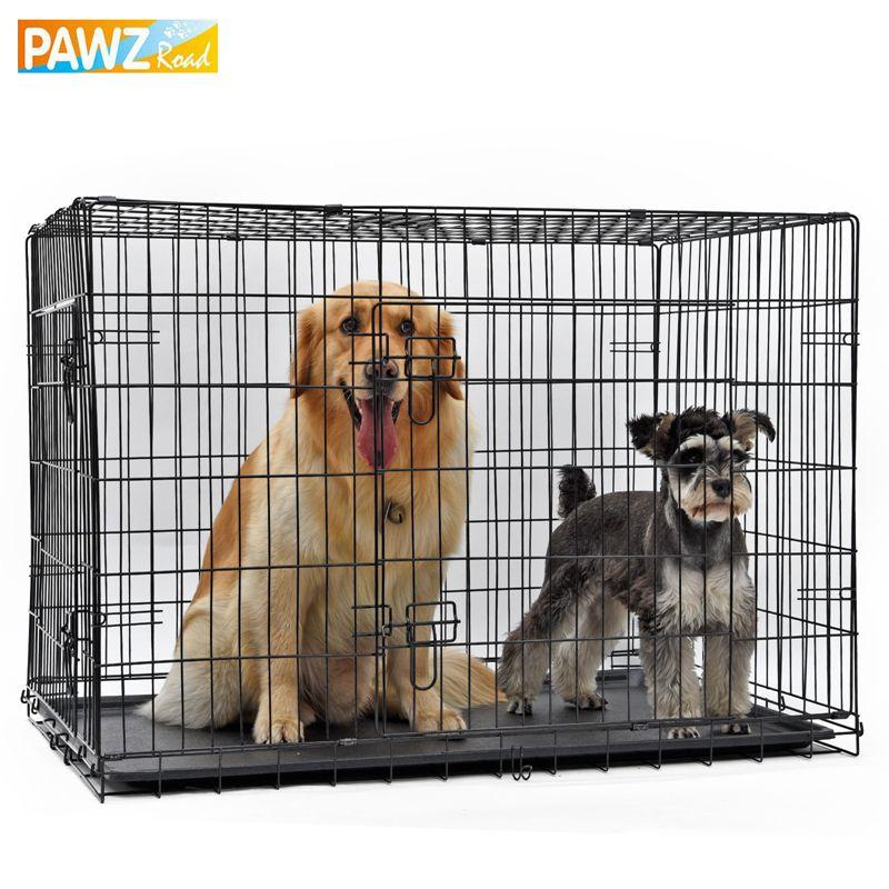 PAWZRoad Domestic Lieferung Hund Käfig Kiste Doppeltür Haustierhundehütte Faltbare Einfach Installieren Fit Ihre Haustiere 5 Größen Pet Haus