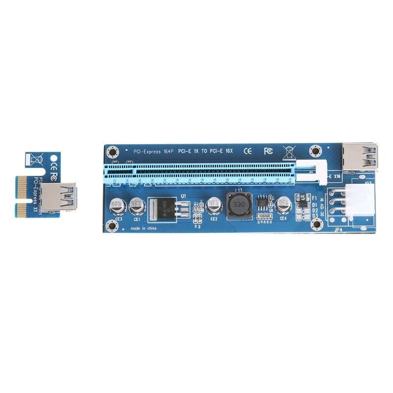 ALLOYSEED 6pin riser card PCI-E 1X to 16X Riser Card Extender board + PCIE 1x adapter for graphics card BTC LTC Miner mining
