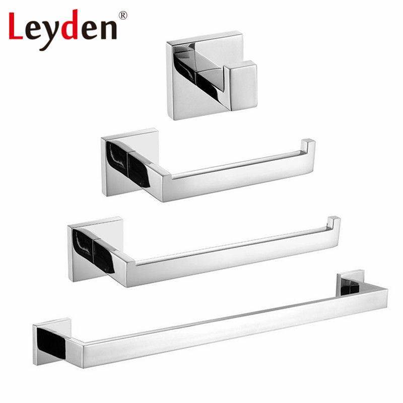 Leyden 4 stücke Edelstahl ORB/Chrom/Nickel Gebürstet Handtuchhalter Toilettenpapierhalter Kleiderhaken Handtuch Ring bad Zubehör-set